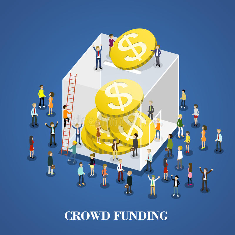 Crowd funding. Flat 3d isometric design of crowd funding vector illustration