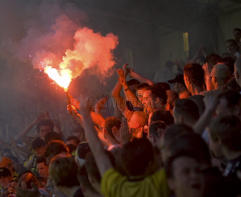 Crowd goes crazy. The local soccer team VVV-Venlo (the Netherlands) wins the title (Jupiler League) and the crowd goes crazy stock photos