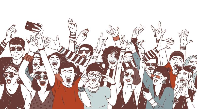 Crowd of happy people or music fans screaming, singing and dancing with raised hands. Excited spectators or audience of royalty free illustration