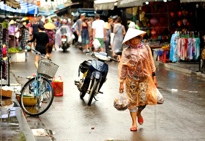 Crowd in Hoi An. South Vietnam. Shoping tourists in streetmarket, Hoi An royalty free stock image