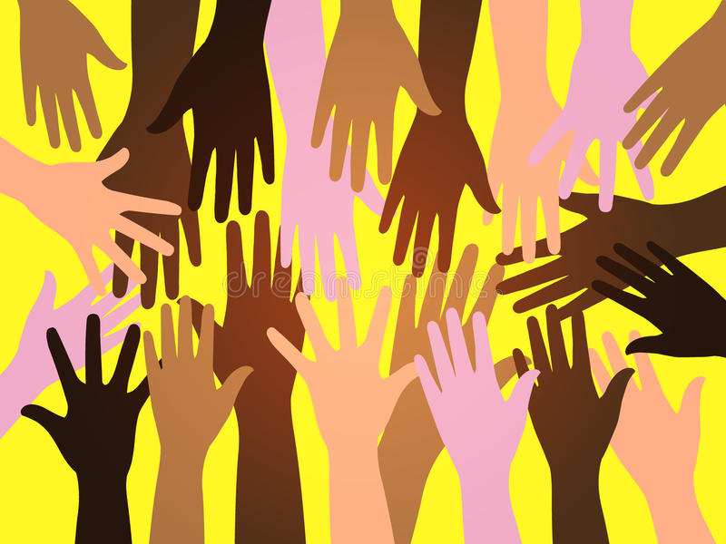 Crowd human hands. Vector illustration of multicolor multiracial raised hands on yellow background can means power, civil rights, human unity, voting, help