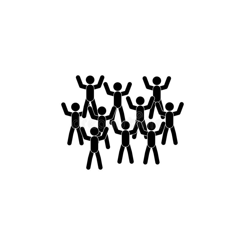 Crowd icon. Simple glyph, flat vector of People talk icons for UI and UX, website or mobile application. On dark gradient background royalty free illustration