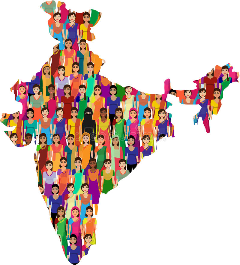 Crowd Of Indian Women Vector Avatars Stock Vector