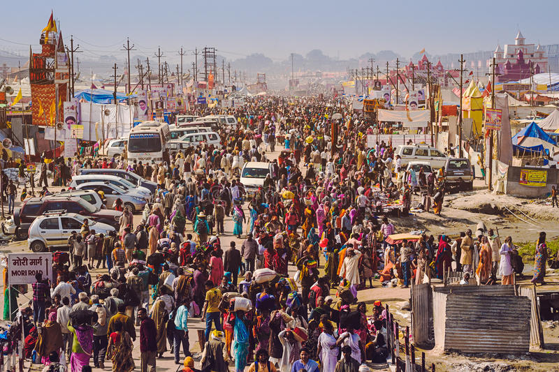Crowd at Kumbh Mela Festival in Allahabad, India. Allahabad, India - February 10: Crowd at Kumbh Mela festival, the world's largest religious gathering, in stock photos