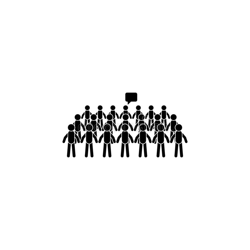Crowd man speaks icon. Simple glyph, flat vector of People talk icons for UI and UX, website or mobile application. On dark gradient background vector illustration