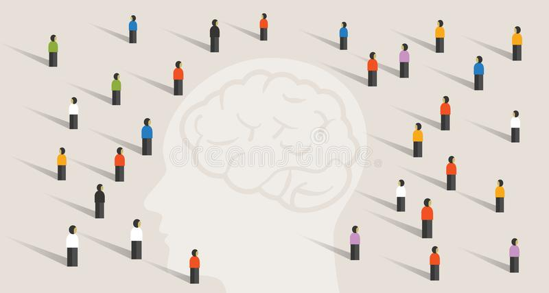 Crowd many people group with large head mind thinking together. intelligence wisdom brain health care memory disease royalty free illustration