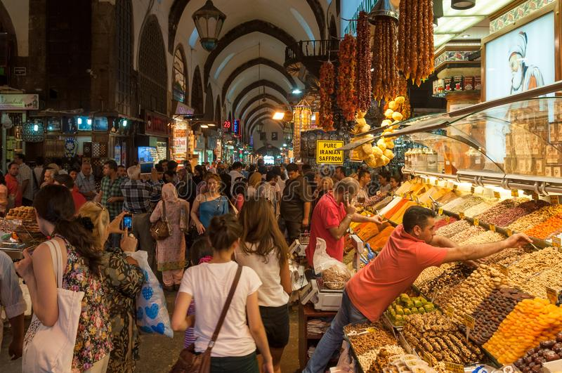 Crowd of multi-ethnic people shopping at Grand Bazaar market in Istanbul royalty free stock image