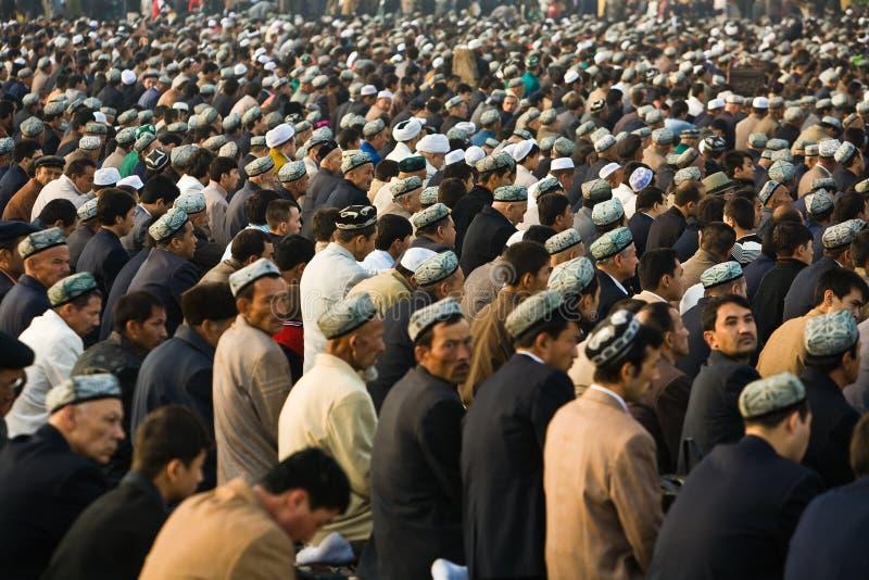 Crowd of muslim worshipers during Ramadan royalty free stock photo