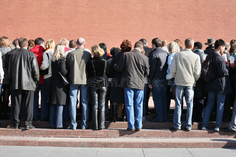 Crowd near the kremlin wall stock photography