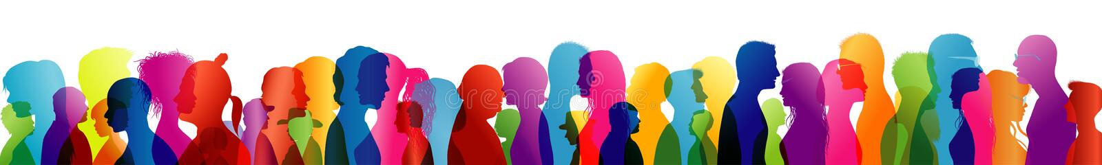 Crowd noise. Noisy people. Talking crowd. People talking. Colored silhouette profiles. Multiple exposure. Illustration with noisy crowd. Background noise of stock illustration