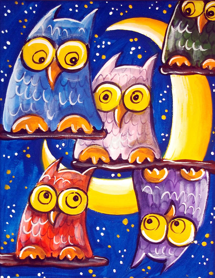 Crowd Of Owls royalty free illustration