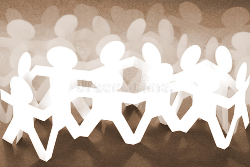 Crowd of Paper Chain People stock photography