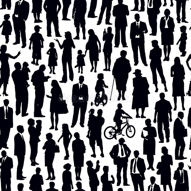 Crowd of people. Pattern - crowd of people walking on a street vector illustration