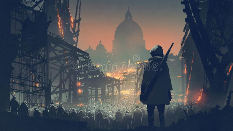 A crowd of people in apocalyptic city. Young man with gun looking at crowd of people in apocalyptic city, digital art style, illustration painting vector illustration