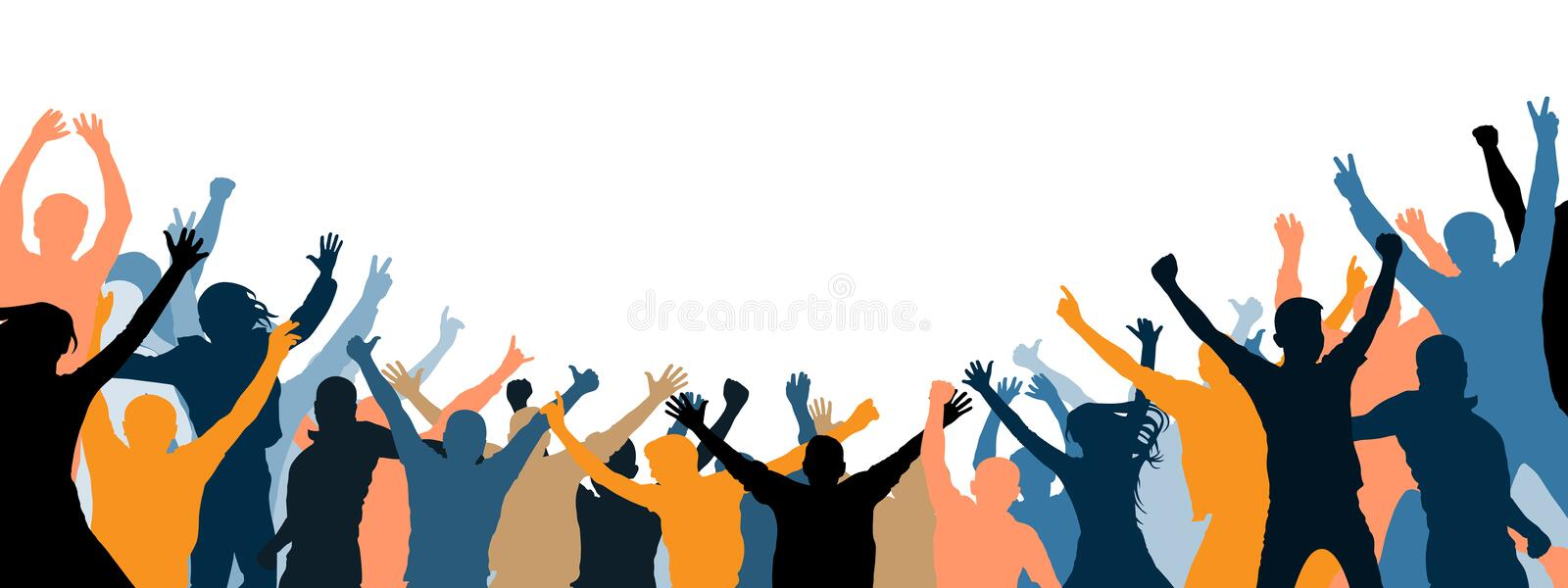 Crowd of people applauding. Isolated separate people, silhouette. Cheer audience. Party, applause. Fans dance concert, disco royalty free illustration