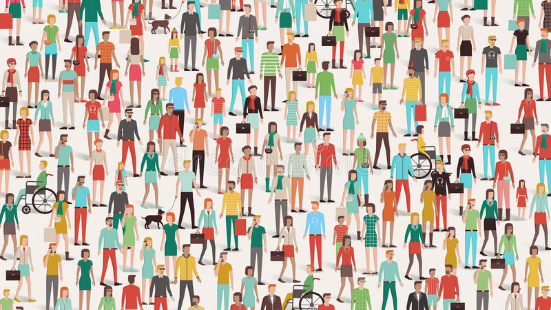 Crowd of people. Banner, men, women and children, different ethnic groups and clothing vector illustration