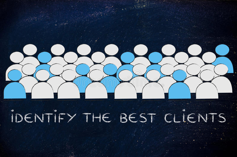 crowd with people being selected and text Identify the best clients royalty free stock images