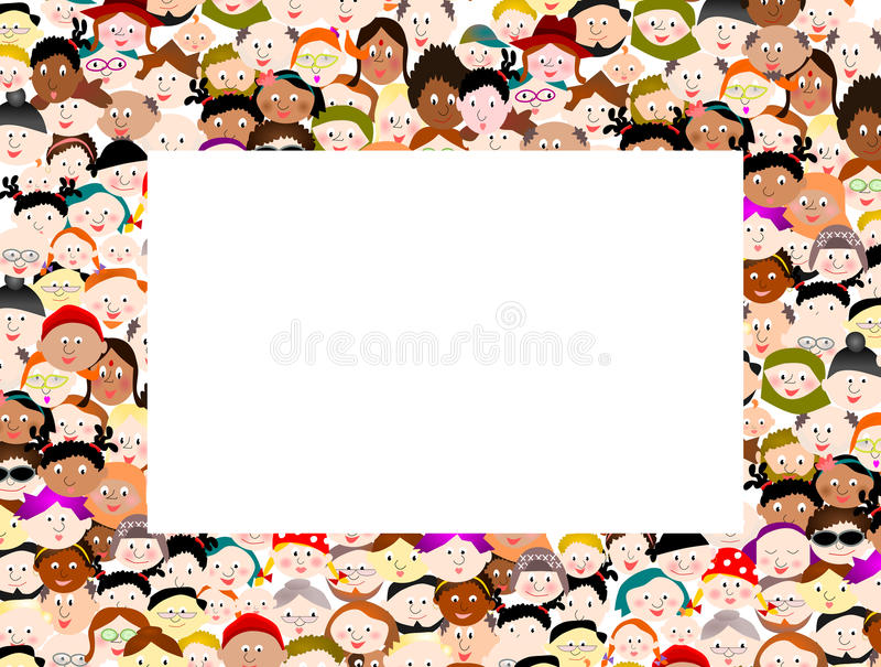 Crowd people border frame stock illustration. Illustration of many ...