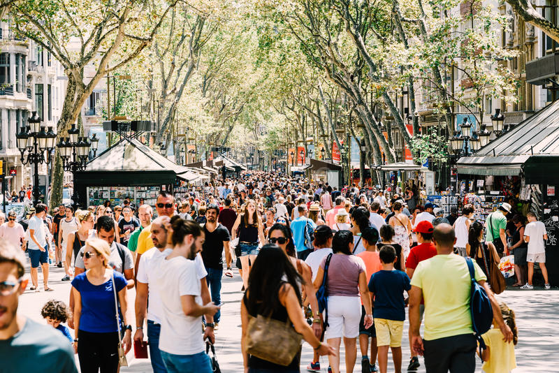 Crowd Of People In Central Barcelona City On La Rambla Street stock image