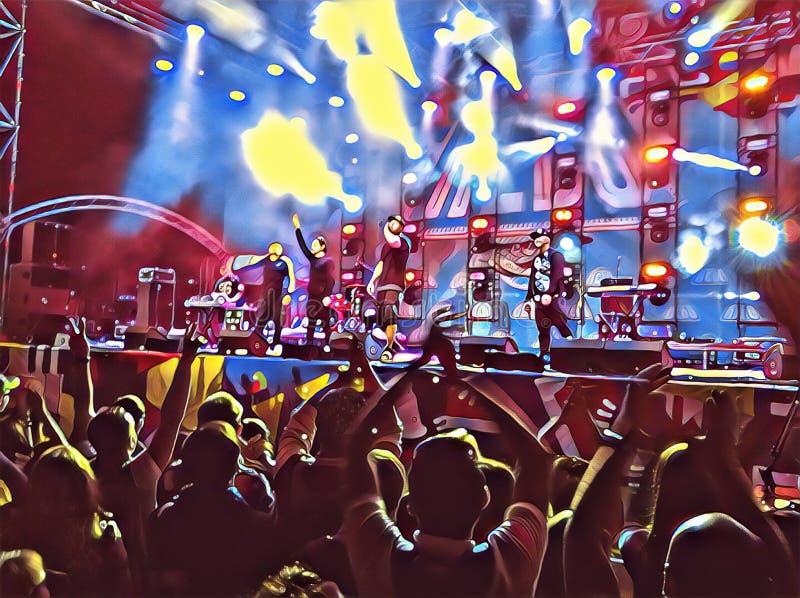 Crowd of people on concert digital illustration for background royalty free illustration