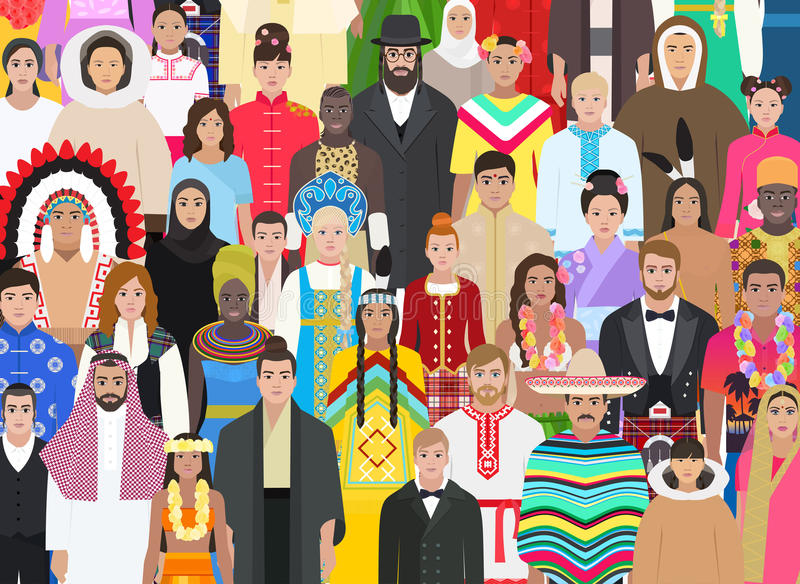 Crowd people of different nationalities, vector illustration royalty free illustration