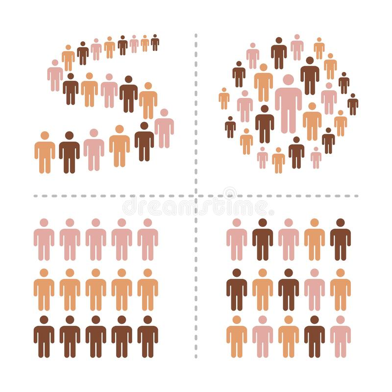 Crowd with different skin colors icon set. Crowd of people with different skin colors icon set,vector and illustration vector illustration