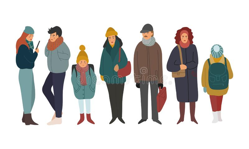 Crowd of people dressed in outerwear isolated on white. Group of men, women and children wearing winter clothing. Flat vector illustration