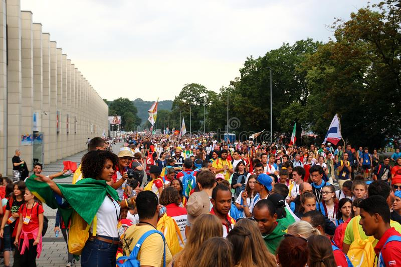 A crowd of people with flags.World Youth Day Krakow Poland 2016 royalty free stock photo