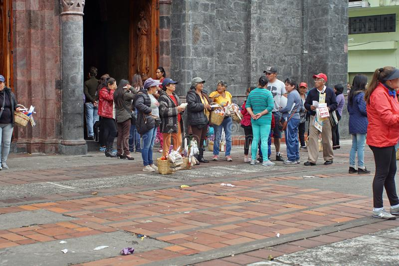 People in front of a church. Crowd of people in front of a church in Banos, Ecuador royalty free stock photography