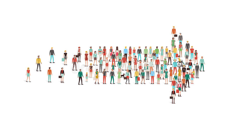 Crowd of people gathered in an arrow shape stock illustration