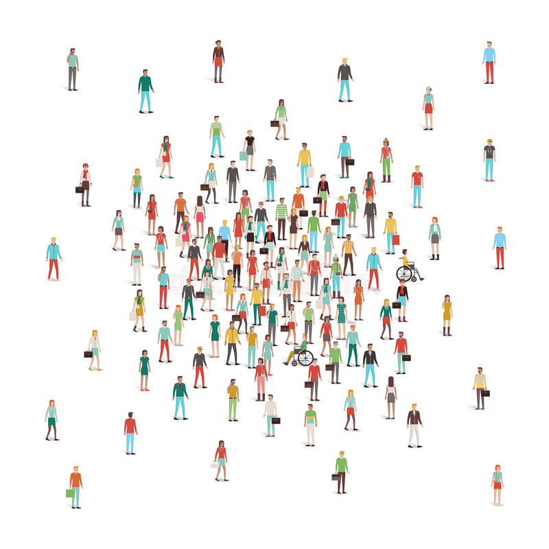 Crowd of people gathering at center royalty free illustration