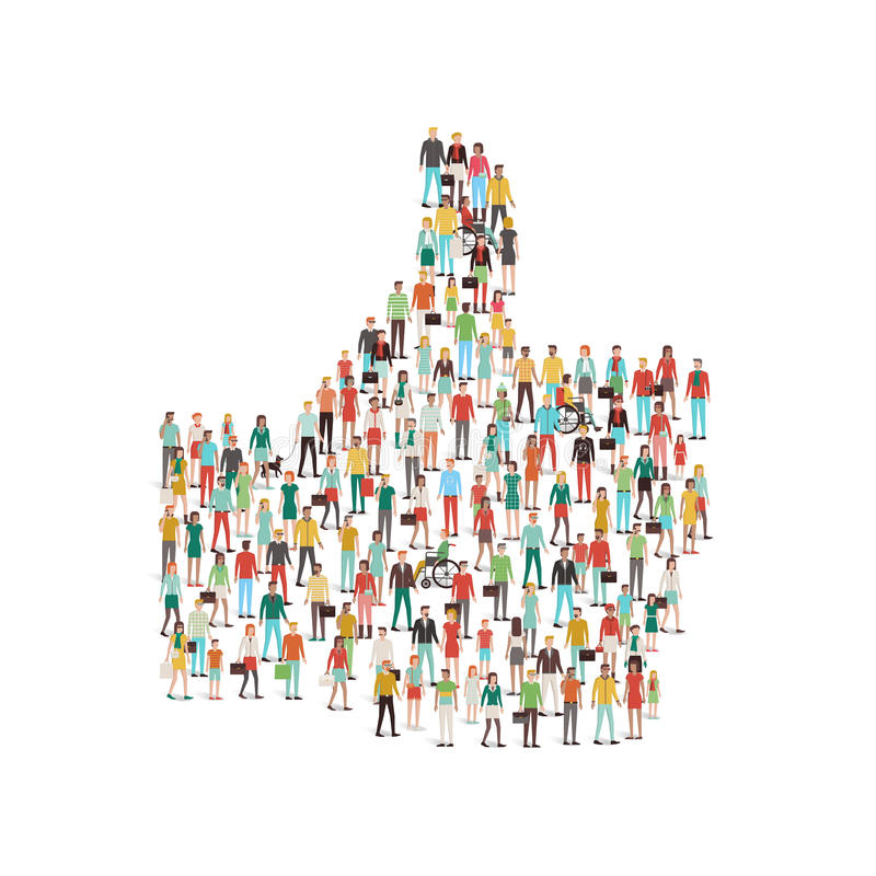 Crowd of people gathering in a thumbs up shape royalty free illustration