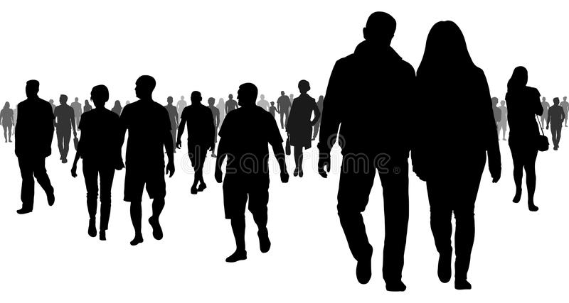 Crowd of people going to a meeting silhouette. Crowd of people going to a meeting silhouette stock illustration