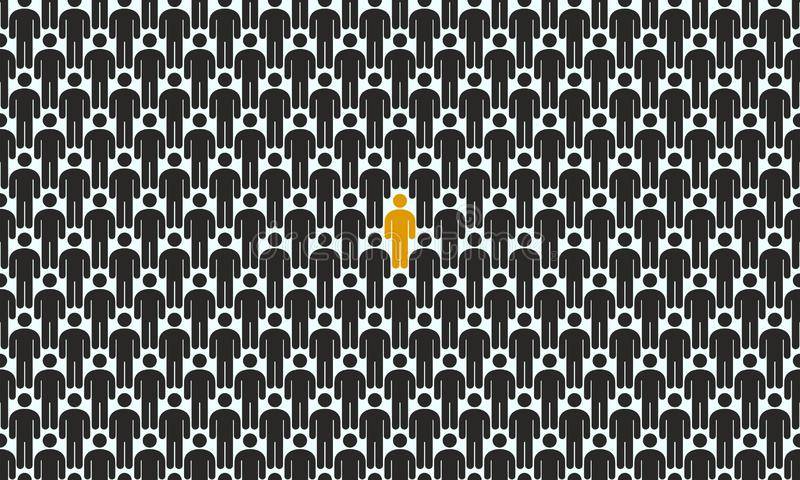 Crowd of people with the highlighted person, concept of uniqueness stock illustration