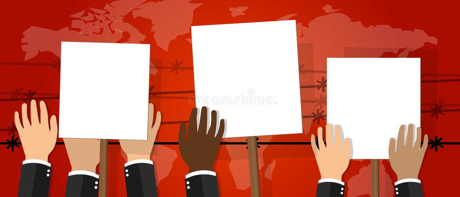 Crowd people holding protest sign white placard vector illustration of strike activism protesters anger revolt. Drawing stock illustration