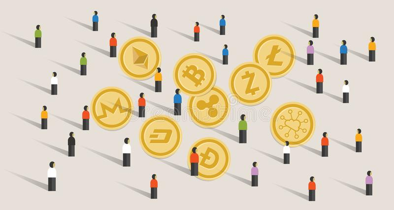 Crowd people hype together crypto-currency coin set bitcoin stock illustration