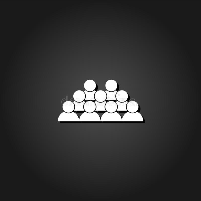 Crowd of people icon flat. Simple White pictogram on black background with shadow. Vector illustration symbol vector illustration