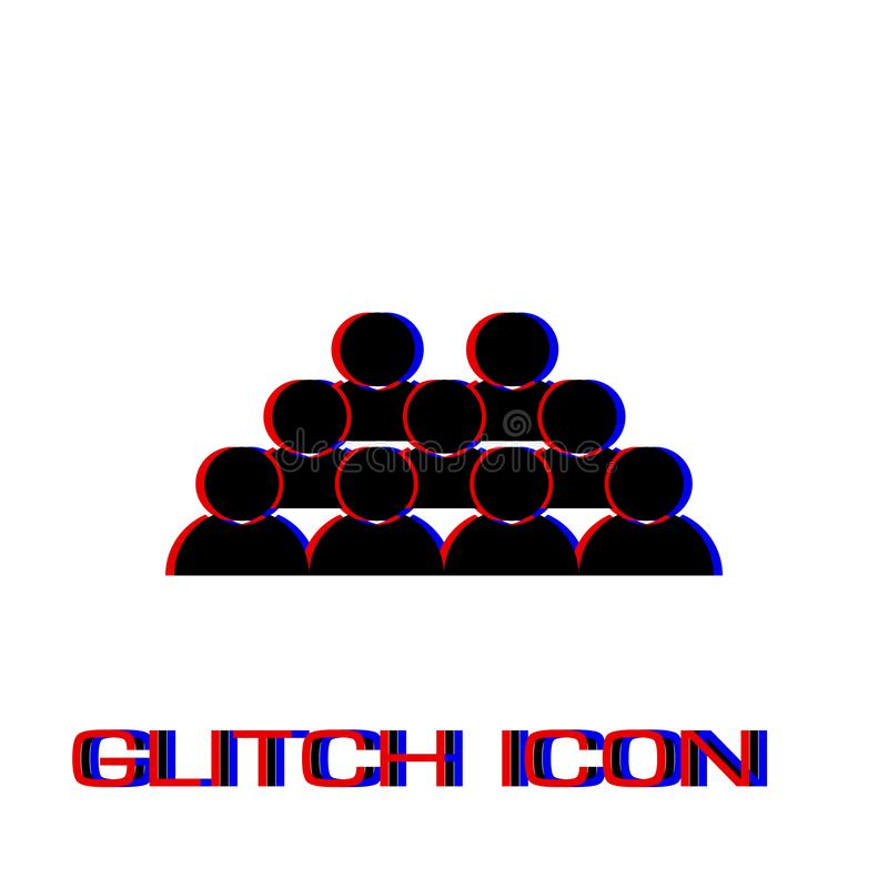 Crowd of people icon flat. Simple pictogram - Glitch effect. Vector illustration symbol stock illustration