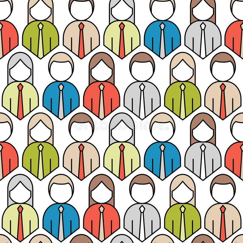 Crowd of people icon seamless pattern. Flat style vector illustration vector illustration