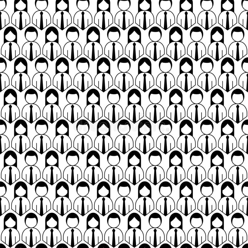 Crowd of people icon seamless pattern. Outline style vector illustration stock illustration