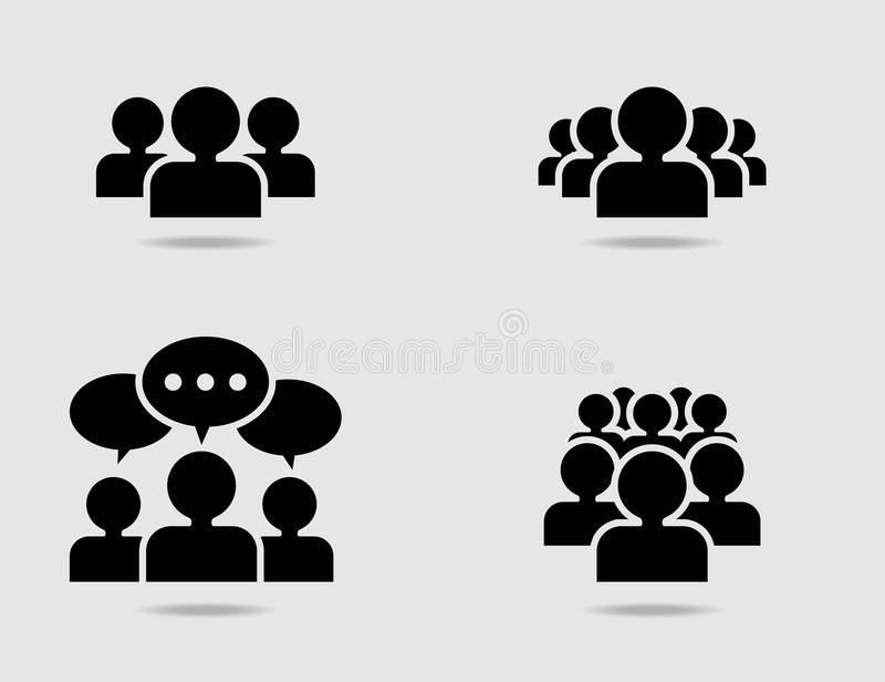 Crowd of people icon set. Crowd of people in team icon silhouettes. Vector Illustration stock illustration