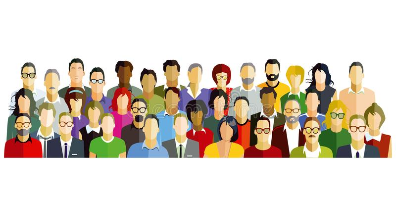 Crowd Of People. An illustration of a diverse crowd of people vector illustration