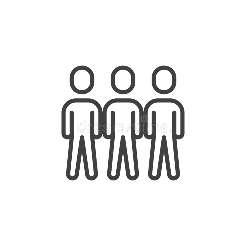 Crowd of people line icon. Teamwork group linear style sign for mobile concept and web design. Three people stand outline vector icon. Symbol, logo royalty free illustration