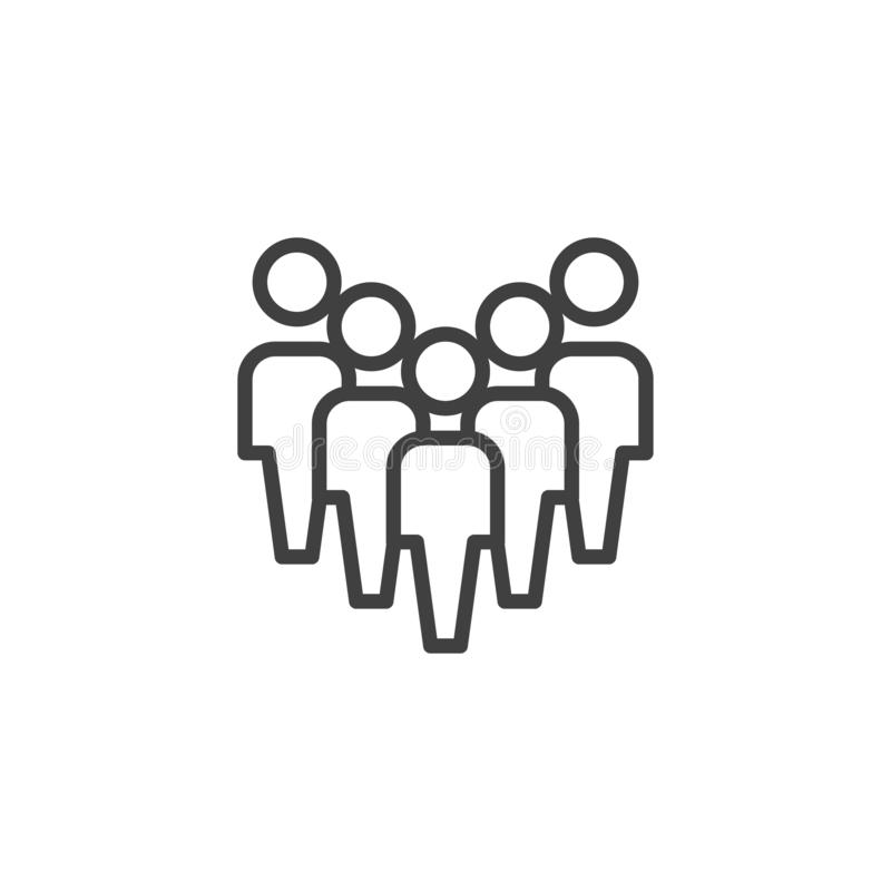Crowd of people line icon. Work group team linear style sign for mobile concept and web design. Staff Group outline vector icon. Symbol, logo illustration vector illustration