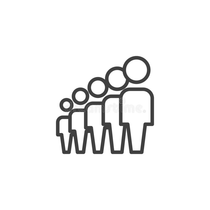 Crowd of people line icon. Team, Teamwork linear style sign for mobile concept and web design. People group outline vector icon. Symbol, logo illustration stock illustration