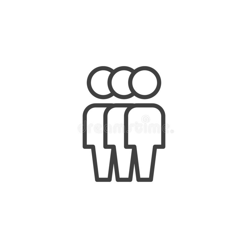 Crowd of people line icon. Three Human silhouette linear style sign for mobile concept and web design. Teamwork group outline vector icon. Symbol, logo vector illustration