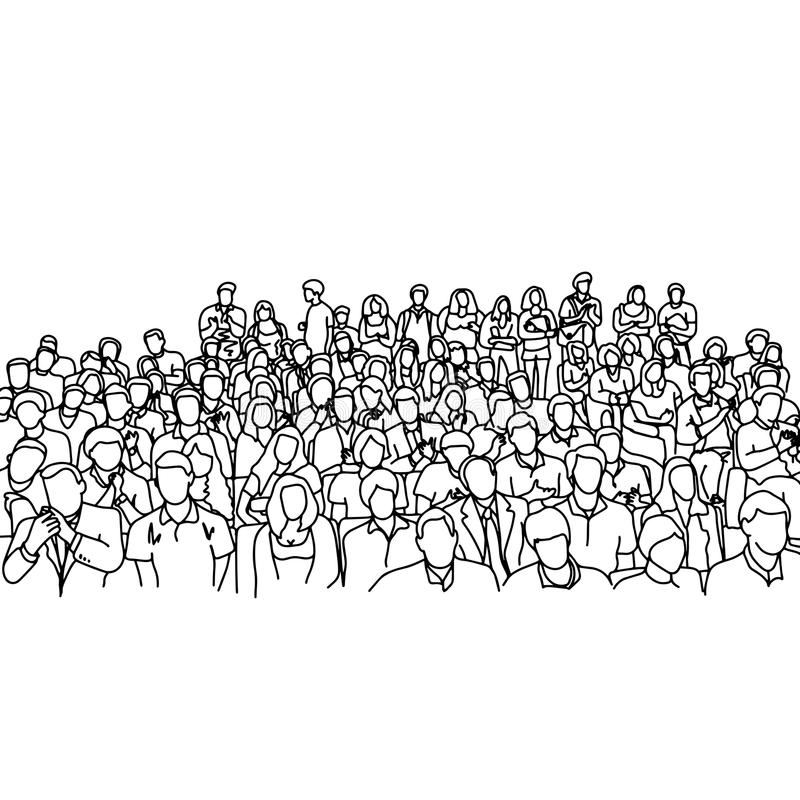Crowd people in meeting slope room vector illustration sketch ha. Nd drawn with black lines, isolated on white background royalty free illustration