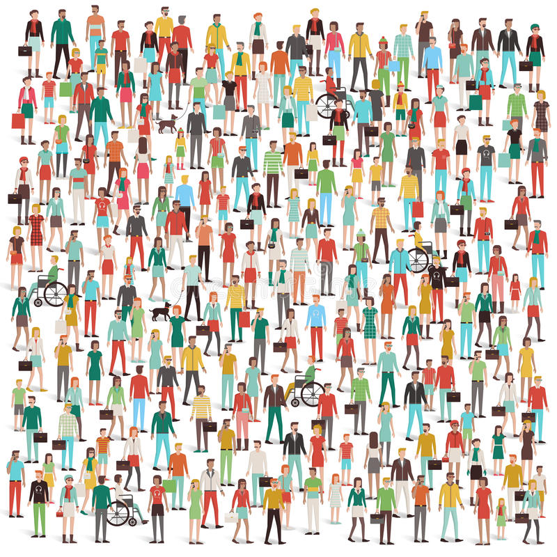 Crowd of people. Men, women, children, different ethnic groups and clothing, consumers and large groups concept stock illustration