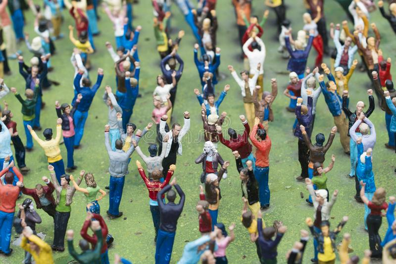 A crowd of people in miniature in Madurodam royalty free stock photo