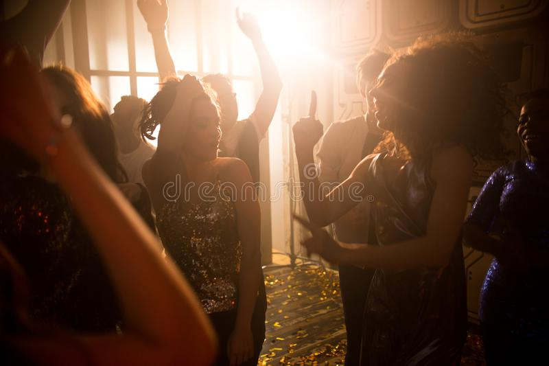 Crowd of People in Nightclub royalty free stock images
